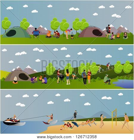 Vector set of summer recreation concept banners in flat style.