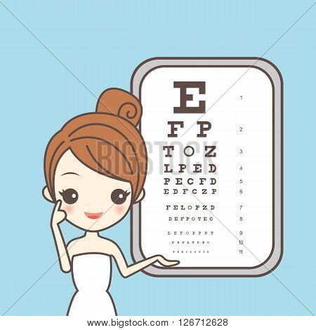 cartoon girl care her eye with ophthamology chart great for eye care concept