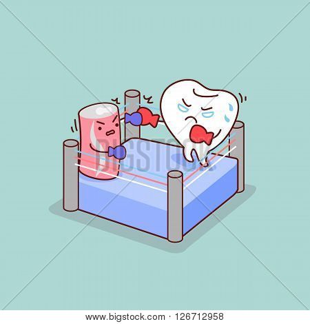 cartoon tooth boxing with Carbonated drinks great for dental care concept