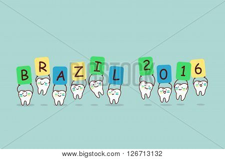 cartoon brazil tooth holding billboards great for dental care and brazil 2016 concept