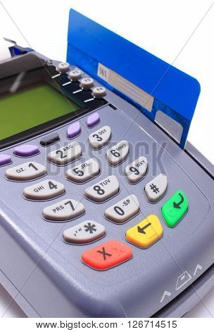 Payment terminal with credit card on white background credit card reader payment terminal finance concept