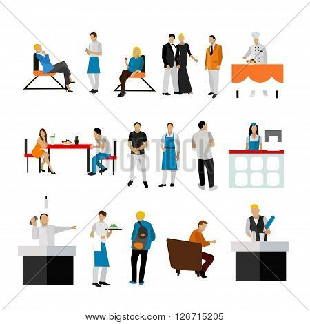 Vector set of restaurant employees and visitors. People icons isolated on white background.