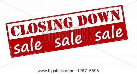 Rubber stamp with text closing down sale inside vector illustration
