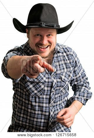 Cowboy man at plaid shirt with black hat on white background
