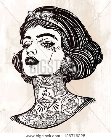 Adult coloring book page with the face of young tattooed girl. Coloring book page for adults. Female portriat in flash tattoo style. Isolated vector illustration in the style of street art design.