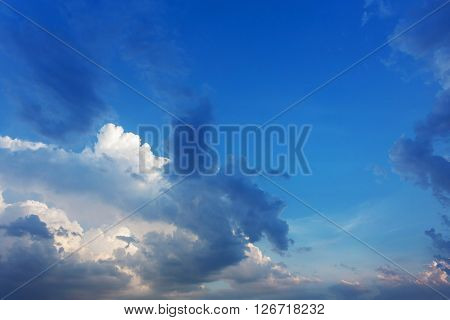 Blue Sky With Clouds, Clear Weather Sky Background