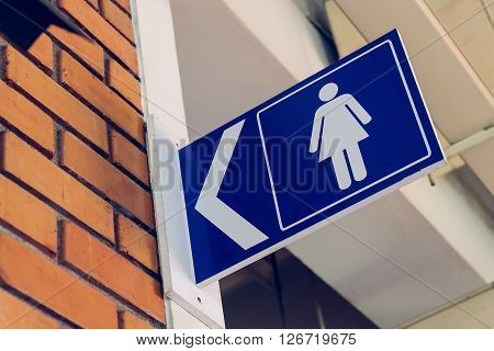 Restroom Signs With Female Symbol And Arrow Direction Signs