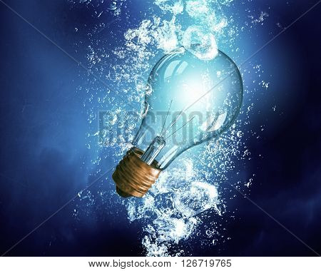 Light bulb under water