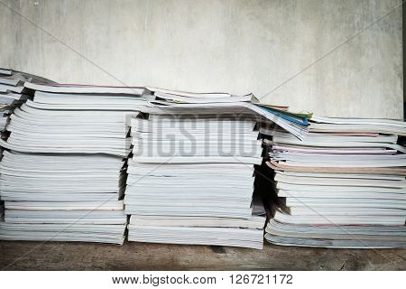Magazine On Table Book Shelf With Cement Mortar Wall