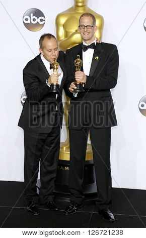 Jonas Rivera and Pete Docter at the 88th Annual Academy Awards - Press Room held at the Loews Hotel in Hollywood, USA on February 28, 2016.