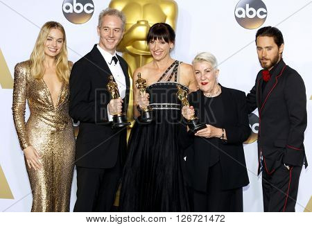Damian Martin, Elka Wardega, Lesley Vanderwalt, Margot Robbie and Jared Leto at the 88th Annual Academy Awards - Press Room held at the Loews Hotel in Hollywood, USA on February 28, 2016.