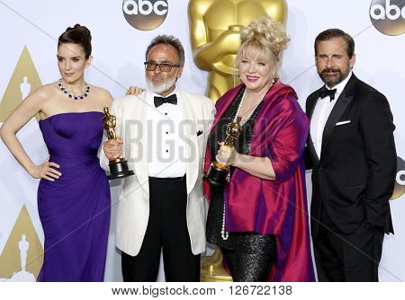 Tina Fey, Steve Carell, Colin Gibson and Lisa Thompson at the 88th Annual Academy Awards - Press Room held at the Loews Hotel in Hollywood, USA on February 28, 2016.