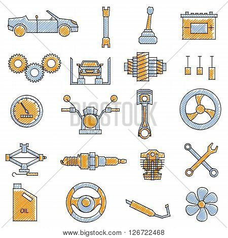 vector illustration of set of scribbled Mechanical icon against isolated background