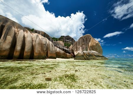 Beautiful beach at Seychelles, La Digue, Anse Source d'Argent