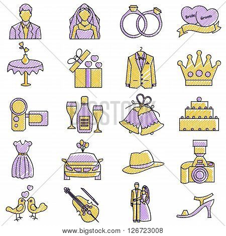 vector illustration of set of scribbled wedding icon against isolated background