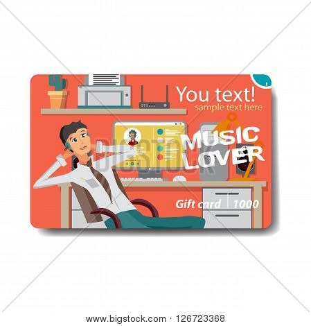 Music lover sale discount gift card. Branding design for music shop. Listening to music on outdoor theme for gift card design. Music lover businessman listening to music in office