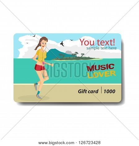 Music lover sale discount gift card. Branding design for music shop. Listening to music on outdoor theme for gift card design. Music lover woman listening to music and playing sports runs on beach