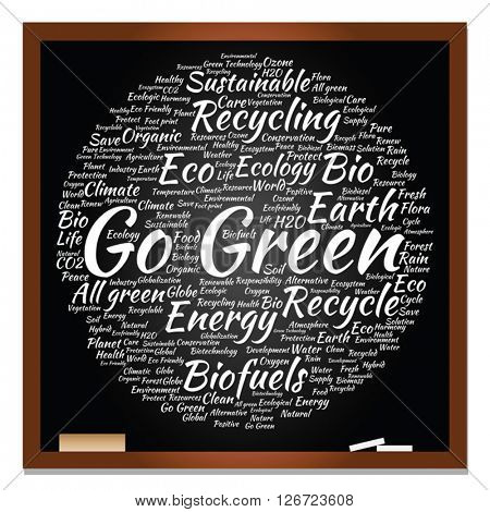 Vector concept or conceptual abstract green ecology, conservation word cloud text, blackboard and chalk background