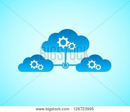 Computing cloud connected together with hub. Vector EPS 10.