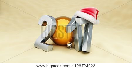 Christmas 2017 New Year holidays on the beach 3D rendering