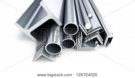 metal pipes angles channels squares. 3D rendering on a white background.3D illustration