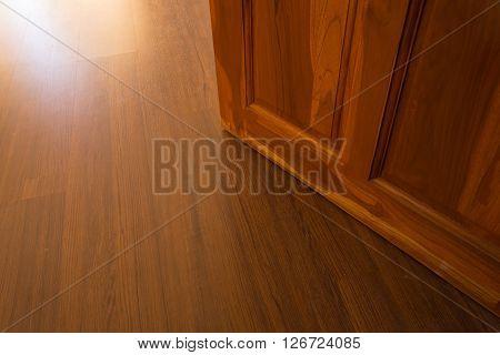 Wood Laminate Floor And Wooden Door Open