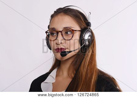 Close up of beautiful telemarketer woman. Isolated white background.