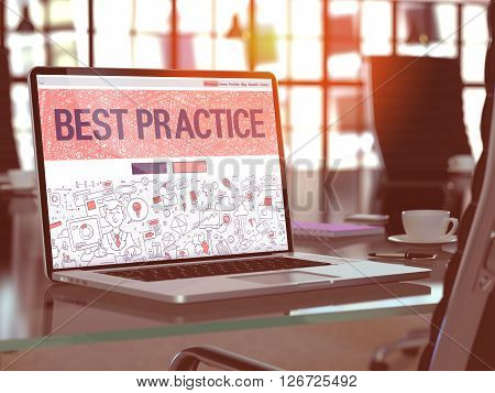 Best Practice Concept. Closeup Landing Page on Laptop Screen in Doodle Design Style. On Background of Comfortable Working Place in Modern Office. Blurred, Toned Image. 3D Render.