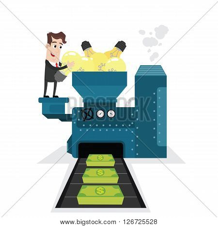Clipart picture of a businessman cartoon character transforming ideas into money