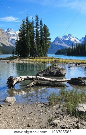 Spirit Island on the Maligne Lake at the Jasper National Park in Canada