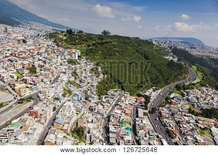 Aerial view of the south eastern part of Itchimbía park in the city of Quito