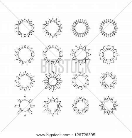 Sun icon set, vector illustration.  Set of vector silhouettes in the form of sun. Flat design sun icon. line icon of sun