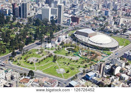 Aerial view of north central Quito sector El Arbolito Park and the Casa de la Cultura Ecuatoriana