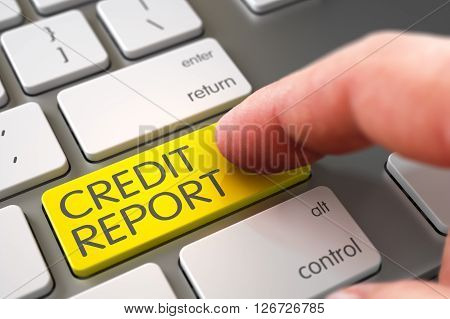 Hand of Young Man on Credit Report Yellow Keypad. Hand using Modern Laptop Keyboard with Credit Report Yellow Key, Finger, Laptop. Modernized Keyboard with Credit Report Yellow Keypad. 3D.