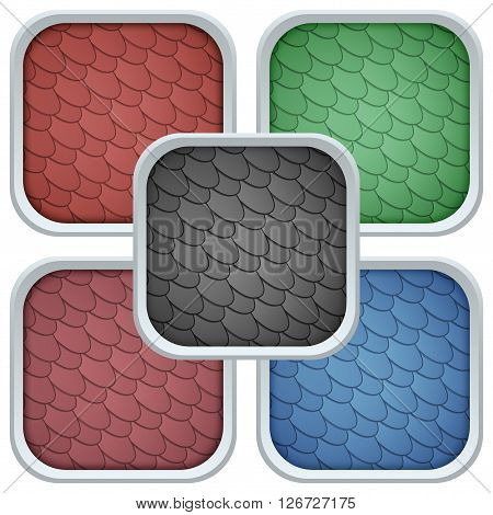 Set of Square Icons bitumen shingles roofing cover. Vector Illustration isolated on white background.