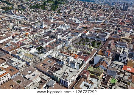 Aerial view of the colonial town of Quito, Cultural Heritage.