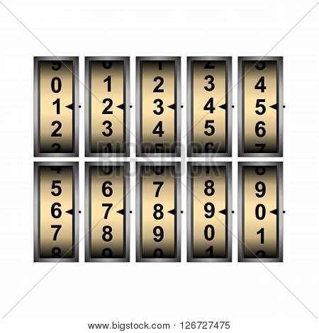 Vector illustration of the counter with all the numbers. Isolated object on a white background can be used with any text or image and in any sequence.
