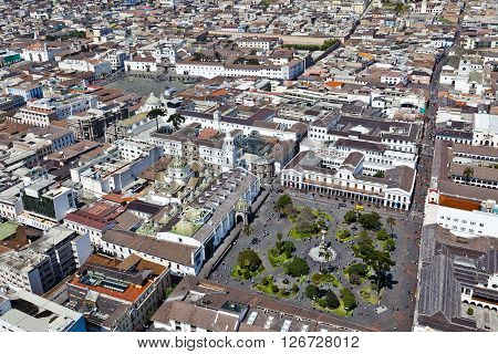Aerial view of the colonial town of Quito, Independence Square, Government Palace, Cathedral and Plaza de San Francisco. Cultural heritage of Humanity.