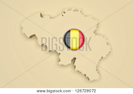 Silhouette Of Belgium With Belgium Flag On Button