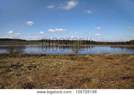 Winter shot of Redmires reservoir in Sheffield, United kingdom
