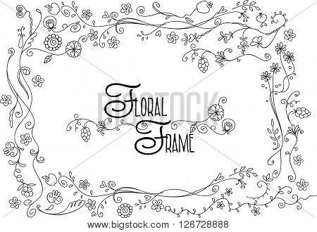 Abstract doodle floral decorative frame vector illustration