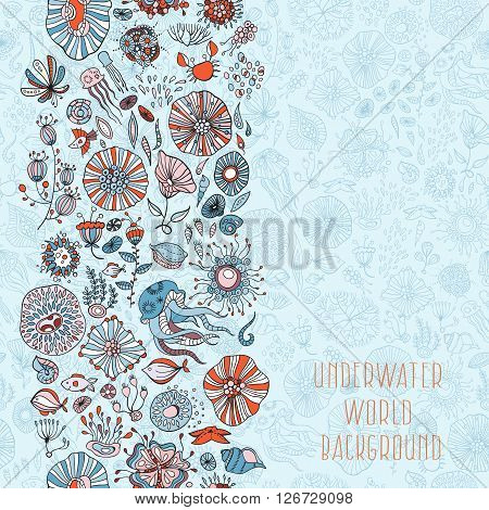 underwater life with underwater life with different sea creatures vector