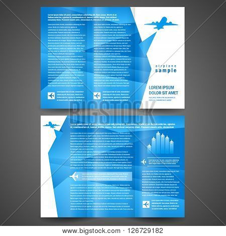 brochure airplane flight tickets air fly cloud sky blue white color travel background