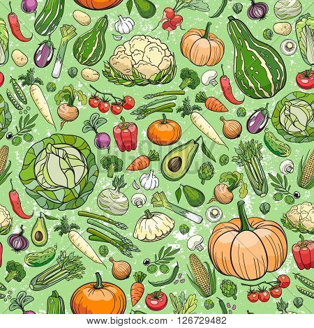 seamless background made of different hand drawn vegetables