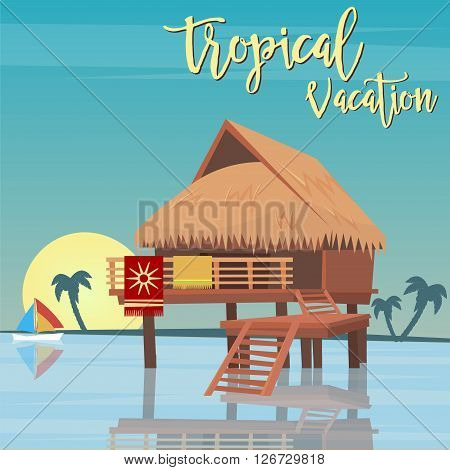 Tropical Paradise - Exotic Island with Bungalows. Vector illustration