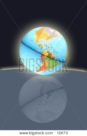 Earth Globe Reflection poster