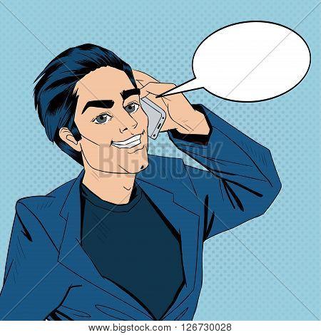 Businessman Talking on the Smart Phone. Pop Art Vector illustration