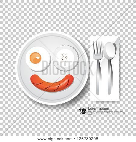 egg hotdog rice spoon and fork illustration. eps10 vector