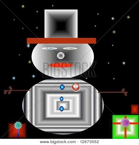 Retro Christmas snowman