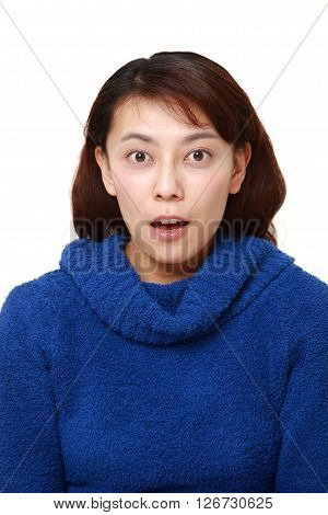 studio shot of Asian woman surprise on white background